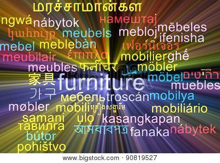 Background concept wordcloud multilanguage international many language illustration of furniture glowing light