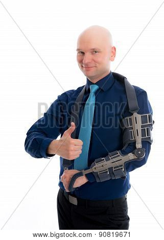 Man With Fractured Arm And Thumb Up