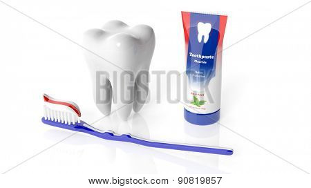 Molar tooth with toothbrush and toothpaste isolated on white