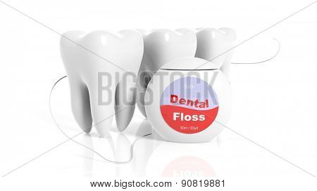 Set of teeth with dental floss isolated on white background