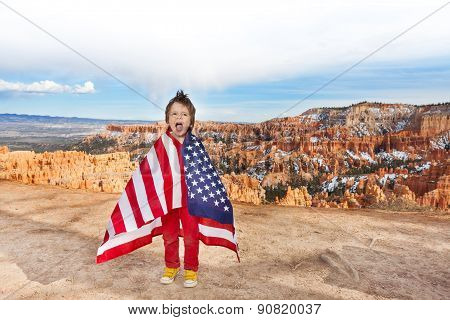 Boy with American flag, Bryce Canyon National Park