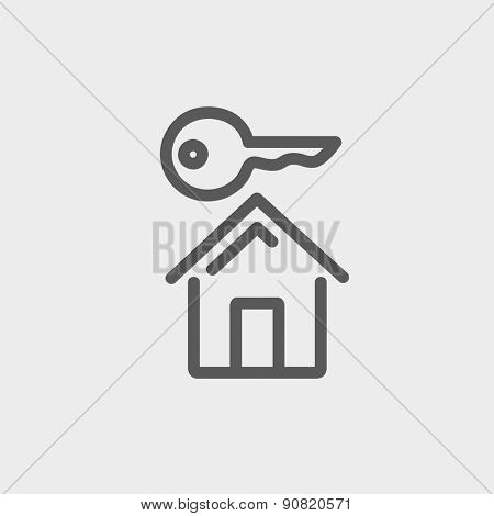 Key for house icon thin line for web and mobile, modern minimalistic flat design. Vector dark grey icon on light grey background.