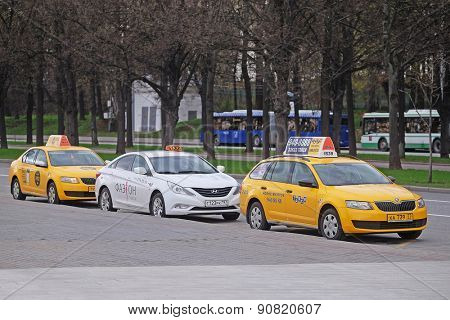 Moscow, Russia, May, 4, 2015: taxi parking on the Sparrow Hills in Moscow