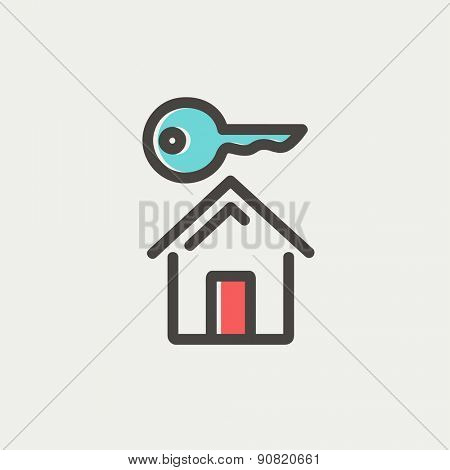 Key for house icon thin line for web and mobile, modern minimalistic flat design. Vector icon with dark grey outline and offset colour on light grey background.