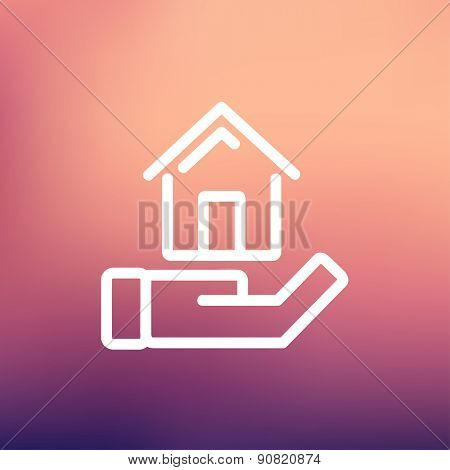 Hand holding house icon thin line for web and mobile, modern minimalistic flat design. Vector white icon on gradient mesh background.