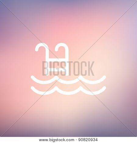 Swimming pool with ladder icon thin line for web and mobile, modern minimalistic flat design. Vector white icon on gradient mesh background.