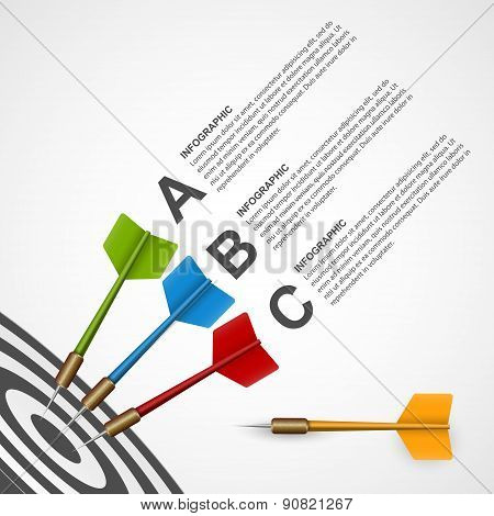 3D Concept Infographic Template Target With Darts. Vector Design.