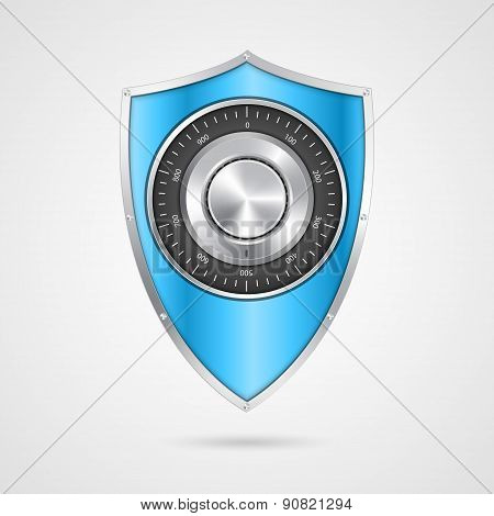 Protection Blue Shield With The Combination Lock.