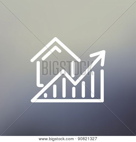 Residential Graph Increases icon thin line for web and mobile, modern minimalistic flat design. Vector white icon on gradient mesh background.