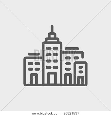 Condominium building icon thin line for web and mobile, modern minimalistic flat design. Vector dark grey icon on light grey background.