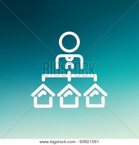 Agent with three houses for sale icon thin line for web and mobile, modern minimalistic flat design. Vector white icon on gradient mesh background.