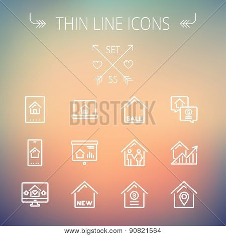 Real estate thin line icon set for web and mobile. Set includes- electronic keycard, business card, graphs, new house, couple, dollar, locator pin icons. Modern minimalistic flat design. Vector white