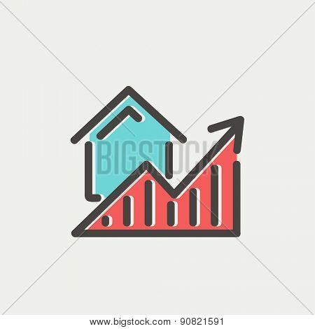 Residential Graph Increases icon thin line for web and mobile, modern minimalistic flat design. Vector icon with dark grey outline and offset colour on light grey background.
