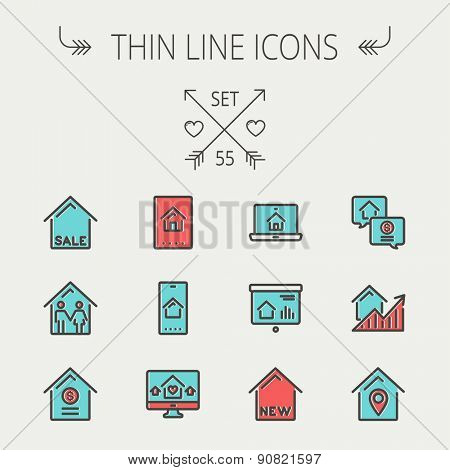 Real estate thin line icon set for web and mobile. Set include- electronic keycard, business card, graphs, new house, couple, dollar, locator pin icons. Modern minimalistic flat design. Vector icon