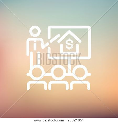 Real estate agent seminar on how to earn money icon thin line for web and mobile, modern minimalistic flat design. Vector white icon on gradient mesh background.