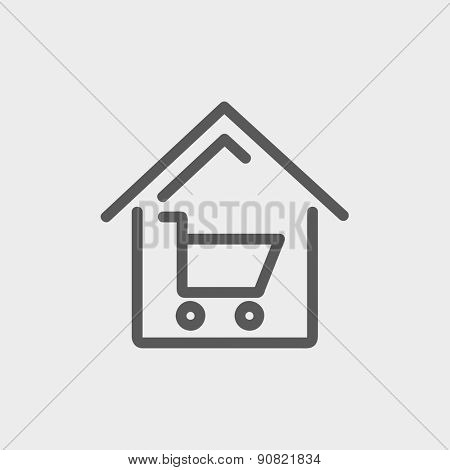 House shopping icon thin line for web and mobile, modern minimalistic flat design. Vector dark grey icon on light grey background.