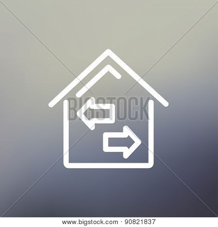 House with left and right arrow icon thin line for web and mobile, modern minimalistic flat design. Vector white icon on gradient mesh background.