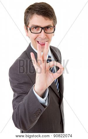 business man with open arms winning, isolated