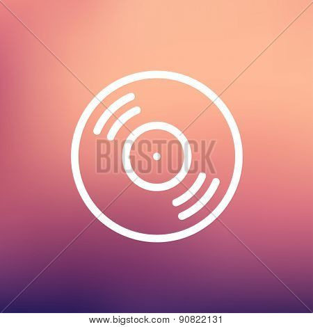 Vinyl disc icon thin line for web and mobile, modern minimalistic flat design. Vector white icon on gradient mesh background.