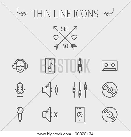 Music and entertainment thin line icon set for web and mobile. Set includes- loudspeaker, headphone, microphone retro, cassette tape, control volume, vinyl disc icons. Modern minimalistic flat design