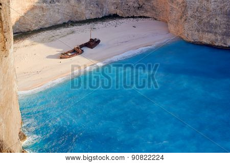 Broken ship at Shipwrech bay . Navagio beach, Zakinthos, Greece