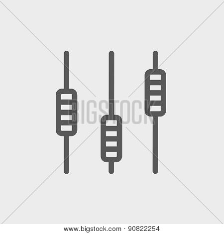 Sliders or faders control board icon thin line for web and mobile, modern minimalistic flat design. Vector dark grey icon on light grey background.