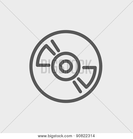 Reel tape deck player recorder icon thin line for web and mobile, modern minimalistic flat design. Vector dark grey icon on light grey background.