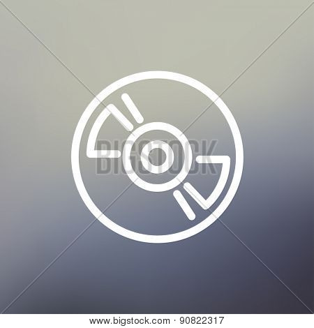 Reel tape deck player recorder icon thin line for web and mobile, modern minimalistic flat design. Vector white icon on gradient mesh background.