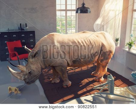 rhinoceros in the room looking at the wooden toy. Photo combination concept