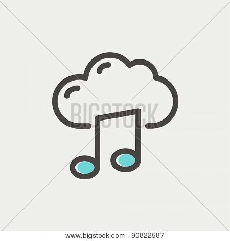 Cloud melody icon thin line for web and mobile, modern minimalistic flat design. Vector icon with dark grey outline and offset colour on light grey background.