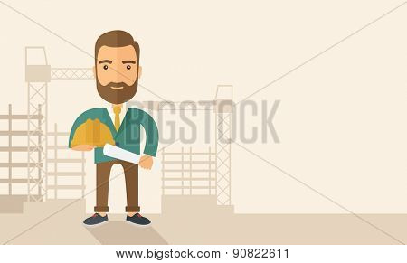 A happy young construction worker holding hard hat and blueprint plan. A Contemporary style with pastel palette, soft beige tinted background. Vector flat design illustration. Horizontal layout with