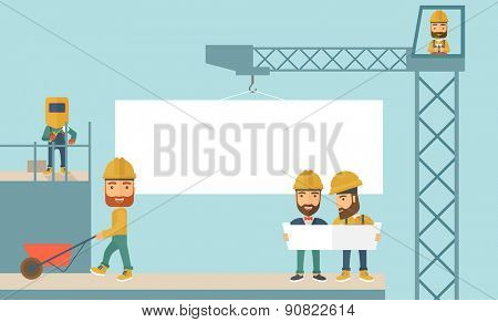 A experienced team workers with white board wearing helmets . A Contemporary style with pastel palette, soft blue tinted background. Vector flat design illustration. Horizontal layout.