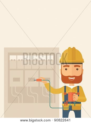 A hipster Electrician wearing hard hat repairing an electrical panel. A Contemporary style with pastel palette, soft beige tinted background. Vector flat design illustration. Vertical layout with text