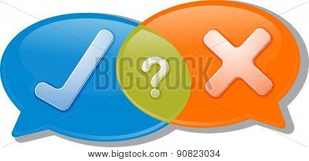 Illustration concept clipart speech bubble dialog conversation negotiation argument yes no agree disagree vector