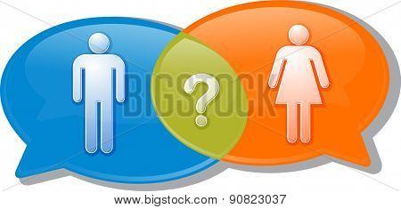 Illustration concept clipart speech bubble dialog conversation negotiation argument over man woman gender comparison vector