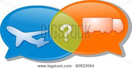 Illustration concept clipart speech bubble dialog conversation negotiation argument Air land transport modes vector