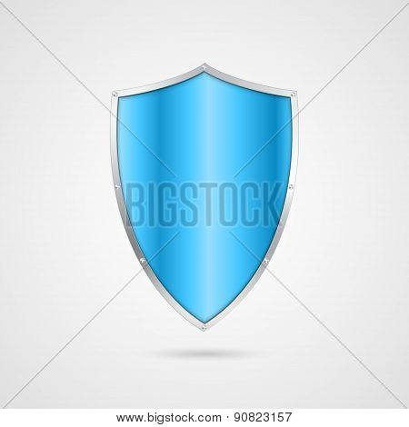 Blue Shield Icon. Vector Illustration.