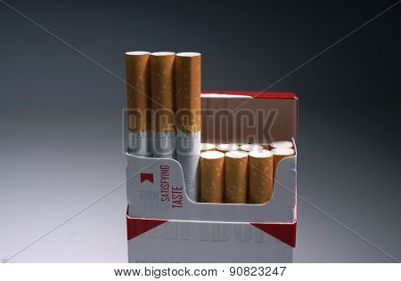 Prague, Czech Republic- March 25, 2015.Cigarette Marlboro