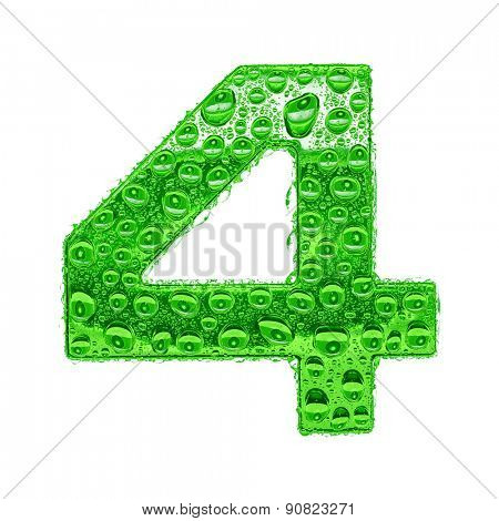 Fresh Green alphabet symbol - digit 4. Water splashes and drops on transparent glass. Isolated on white