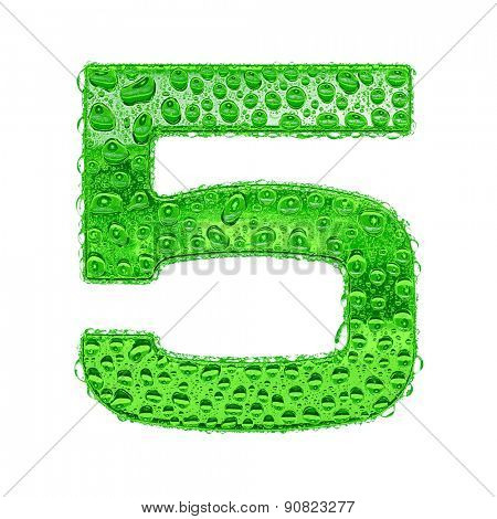 Fresh Green alphabet symbol - digit 5. Water splashes and drops on transparent glass. Isolated on white