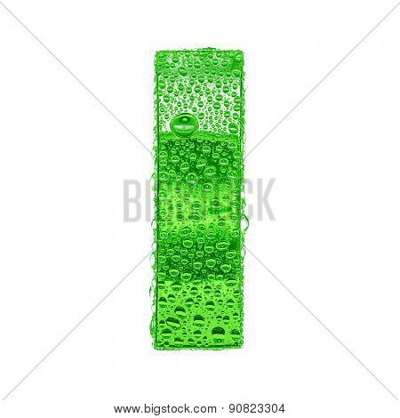 Fresh Green alphabet symbol - letter I. Water splashes and drops on transparent glass. Isolated on white