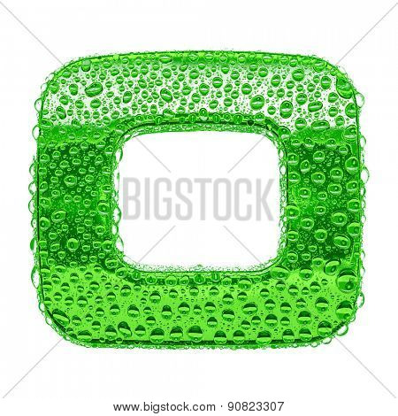 Fresh Green alphabet symbol - digit 0. Water splashes and drops on transparent glass. Isolated on white