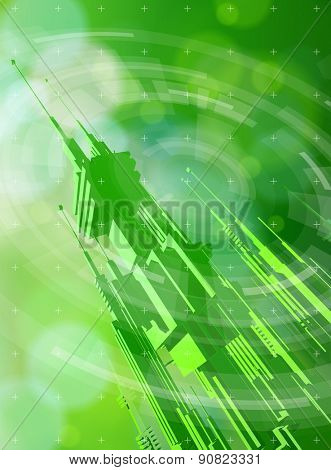 Ecology technology concept - futuristic metropolis, radial HUD elements & green bokeh abstract light background