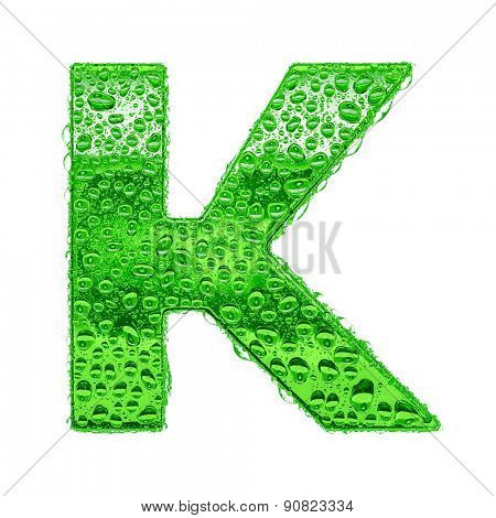 Fresh Green alphabet symbol - letter K. Water splashes and drops on transparent glass. Isolated on white