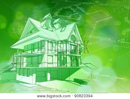 Architecture ecology design: blueprint 3d house, plan & green bokeh abstract light background