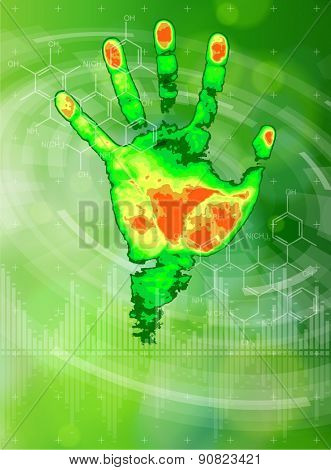 Ecology technology concept - thermal hand print, chemical formulas, radial HUD elements & green bokeh abstract light background