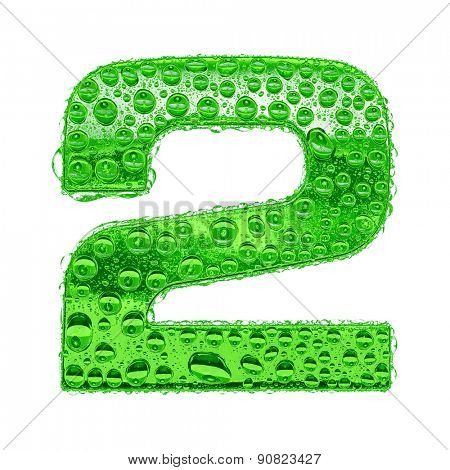 Fresh Green alphabet symbol - digit 2. Water splashes and drops on transparent glass. Isolated on white