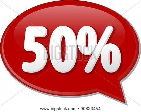 Word speech bubble illustration of discussion forum blog percent discount fifty 50 vector