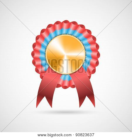 Award Rosette With Ribbons. Vector Illustration.