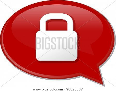 Word speech bubble illustration of discussion forum blog locked secure lock vector